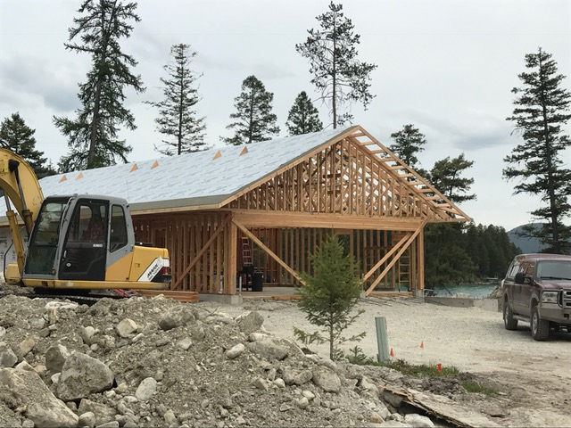 Trusses, plywood and roofing paper
